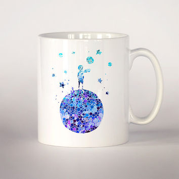 The little prince coffee mug, The little prince  watercolor Tea Cup, coffee cup 11 oz. Mug art, Ceramic Mug art, Unique gift