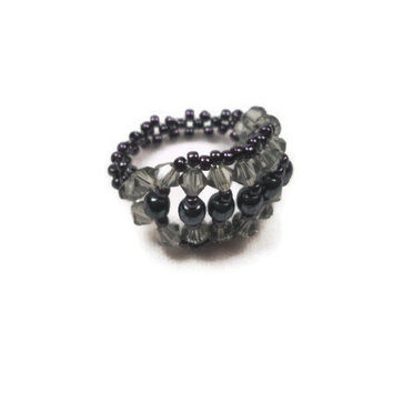 Black Beaded Ring