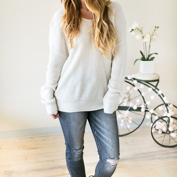 Work From Home Twist Back Sweater - Grey