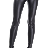 Design 250 - Black faux leather high waisted leggings