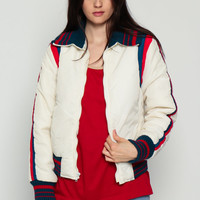 Ski Jacket Puffer Jacket Retro 80s Striped Puffy Coat White Coat Winter 70s Hipster 1980s Vintage Puff Red White Blue Medium