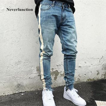 kanye west blue black Skinny Jeans Men Hip Hop stripe Ripped Elastic Slim Fit Jeans brand biker Jeans Denim Jogger Design
