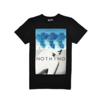 Mens Nothing Print T Shirt - Contemporary Designer Menswear by Blood Brother