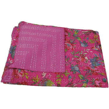 "60x90"" Indian Pink Queen Kantha Quilt Floral Bedspread Blanket Bed Cover Throw Coverlet Ethnic India Decorative Art"
