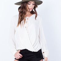 Laced Up Wrap Blouse