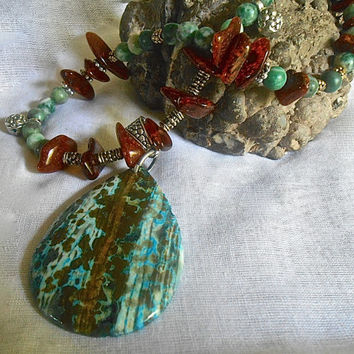 Ocean Jasper Pendant Amber Nuggets Jade Beads Mixed Metals Blues Browns Necklace Tibetan Silver Tibetan Antique Gold 15 to 18 inches