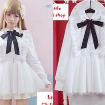 Kawaii Sweet Lolita fairy kei vivi minty college Long Sleeve +Bow Tie dress