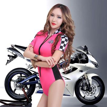 Europe Fashion Women uniform Costume Ds hip hop dance Performance wear Plaid Sexy Automobile Race One piece Bodysuit
