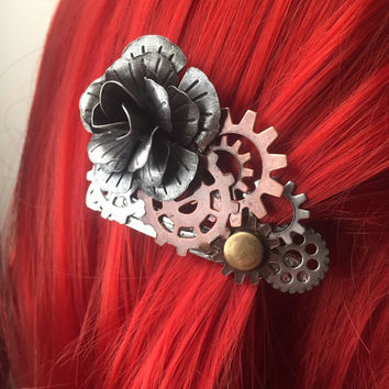 Metal Rose Hair Clip - Steampunk Hair Accessories - Women's Hair Clip