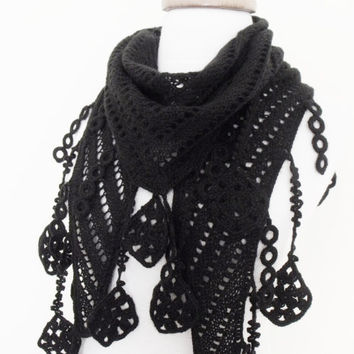 Black Scarf Shawl -Lace Edge-Ready for shipping
