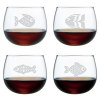 Fish Assortment Stemless Wine Glasses ~ Set of 4