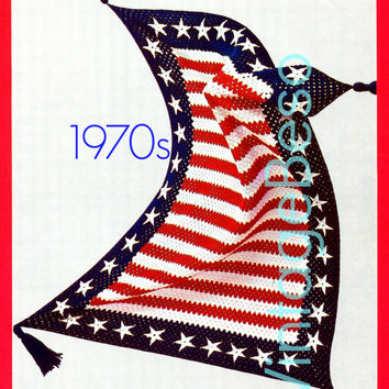 EASY Crochet PATTERN Vintage 1970s Stars and Bars AFGHAN American Flag Patriotic Independence Day Afghan VintageBeso Instant Download Pdf