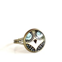 Owl Adjustable Ring Yoga Jewelry Good Luck Wisdom Inspirational Earthy Spiritual Unique Mothers Day Gift Under 20 Item E10