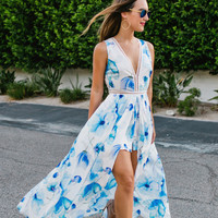 Christine Blue Floral Maxi Jumpsuit