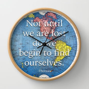 Not Until We Are Lost Do We Begin To Find Ourselves Wall Clock by Cabinet Of Pretty Things