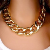 Thick Gold Chain Statement Necklace