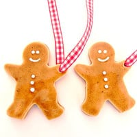 Little Gingerbread Men Ceramic Christmas Ornaments, Set of 2
