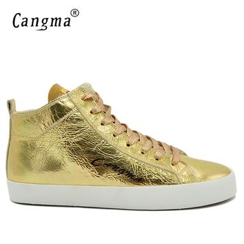 CANGMA Luxury Vintage Man's Gold Shoes Patent Genuine Leather Brand Sneakers Men Casual Shoes Mid Breathable Male Lace Up Flats
