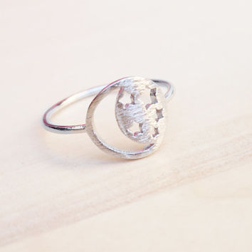 Moon and Star Ring, Moon and Stars Cutout Ring, Dainty Ring, Midi Ring, Simple Minimal Ring, Pinky Ring