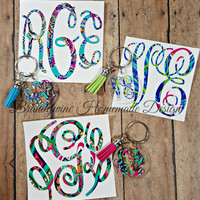 Lilly Pulitzer Inspired Printed Vinyl Monogram Decal, Car Decal, Vinyl Decal, Yeti Decal, Personalized Gift, Key Chain, iPhone Decal