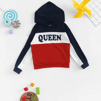 Girls Color Block Letter Print Sweatshirt