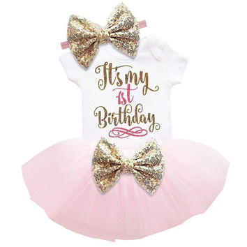 1-3 Piece Set  Baby Girl Summer Sequin Bow Tutu Dress (Tops+Headband+Dress)