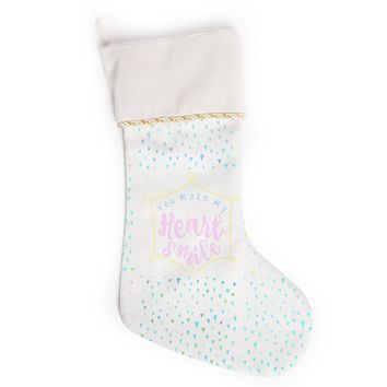 "Robin Dickinson ""You Make My Heart Smile"" Multicolor Pastel Love Kids Illustration Digital Christmas Stocking"