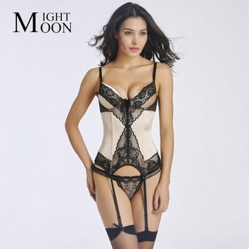 MOONIGHT Women Sexy Satin Corset and Bustiers with Lace Trim Sling Female Fashion Body Shaperwear Lingerie S M L XL XXL