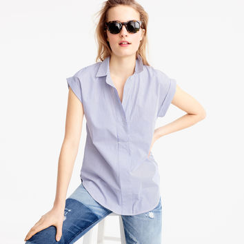Short-sleeve popover in shirting stripe