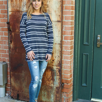 Walking the Line Cold Shoulder Striped Top: Blue