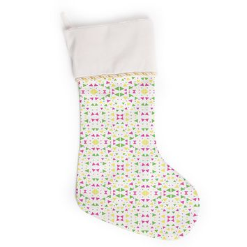 """Empire Ruhl """"Neon Triangles"""" Pink Green Christmas Stocking"""