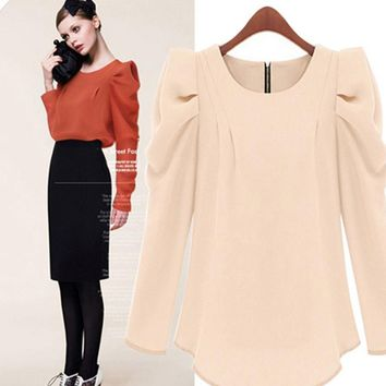 Women's Fashion Round-neck Plus Size Stylish Slim Long Sleeve T-shirts Bottoming Shirt [22460071962]
