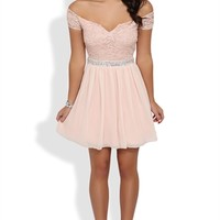 Dress with Stone Trim Waist