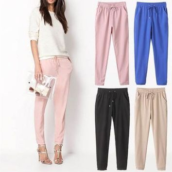 Women Elastic Full Length Long Harem Pants [9305657415]