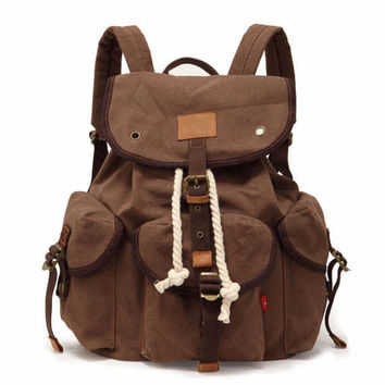 Retro Large Casual Canvas Travel Bag Buckle Backpack