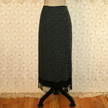 Vintage 90s Gray Skirt Fringe Bohemian Print Skirt Medium Wool Rayon Winter Skirt Size 8 Pencil Skirt 1990s Womens Skirts Vintage Clothing