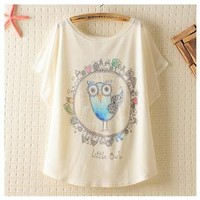Big Eyes Owl Print T-shirt