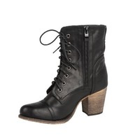 MODESTA TOBE-04 Women's laced up combat short bootie on cowboy heel with PU upper and oxford toe