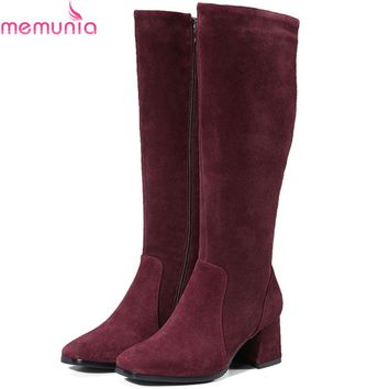 MEMUNIA 2018 fashion women boots square toe zipper cow suede ladies boots leather black wine red square heel knee high boots