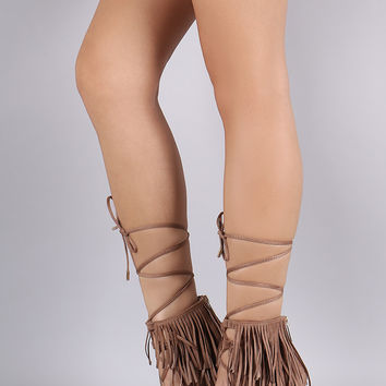 Breckelle Fringe Cuff Lace Up Open Toe Stiletto Heel