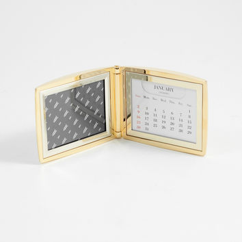 """Gold Plated Perpetual Calendar with 2""""x3"""" Picture Frame"""