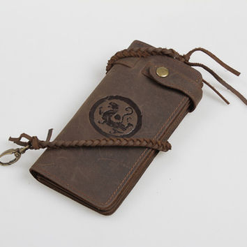 handmade genuine leather wallet totem card purse cool gift 42