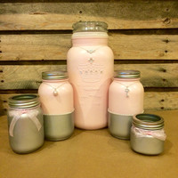 Princess mason jar set, Princess Desk Set, Ballet Pink Mason Jar vanity set, baby girl shower decor, bridal shower centerpiece, Silver Jars