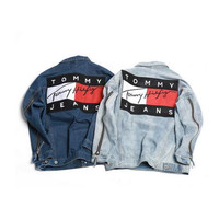 The new wave of brand street couple denim jacket high street loose hanging men and women models denim coat casual men's jacket