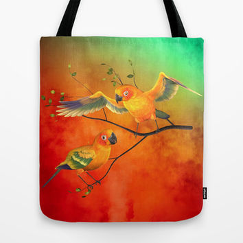 Parrots Sun Conures Tote Bag by Rainbowdreams
