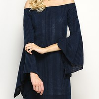 Bell Sleeve Mini Off The Shoulder Dress