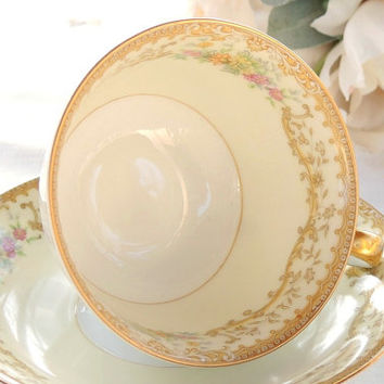 On Sale Antique Noritake Elvira Footed Tea Cup and Saucer Set, Hand Painted Tea Set for Weddings, Bridesmaid Luncheon, Tea Parties, Ca. 1933