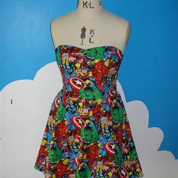 womens comic avengers marvel sweet heart dress - thor, spiderman, hulk, captain america, wolverine, ironman
