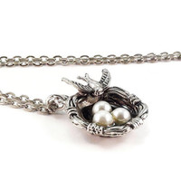 Birds Nest Necklace Silver Chain