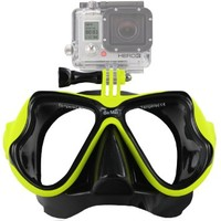 GoMax GoPro ® Scuba Diving Mask compatible w/ GoPro ® Hero 1, 2, 3, 3+ and 4, Black, Silver and White editions (Mask color: Yellow)